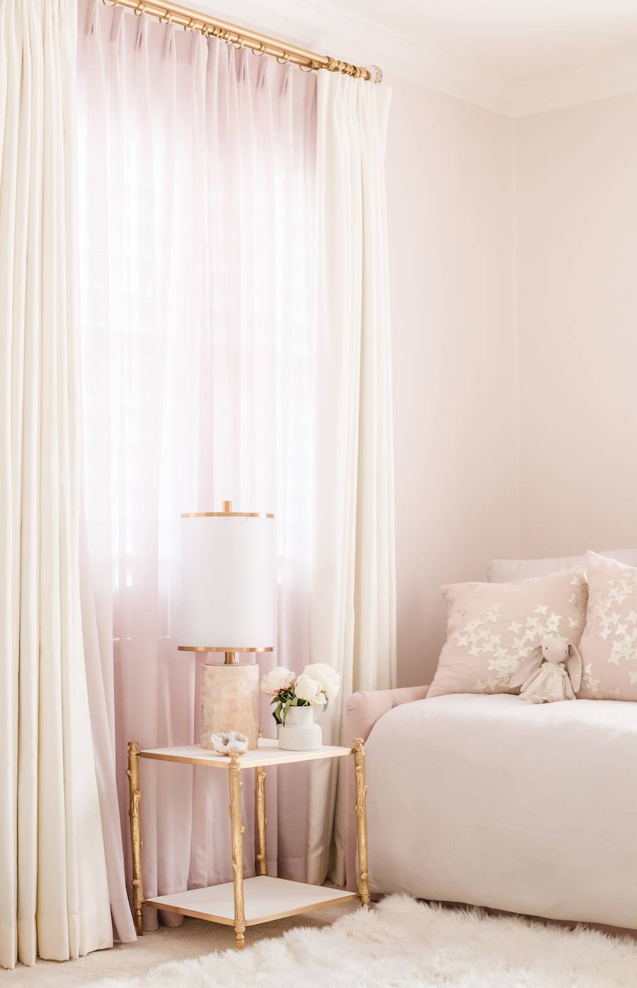 Custom Blackout Curtains and Daybed in Mauve Nursery
