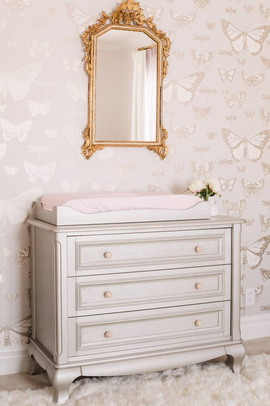 Butterfly Nursery with Silver Changing Table