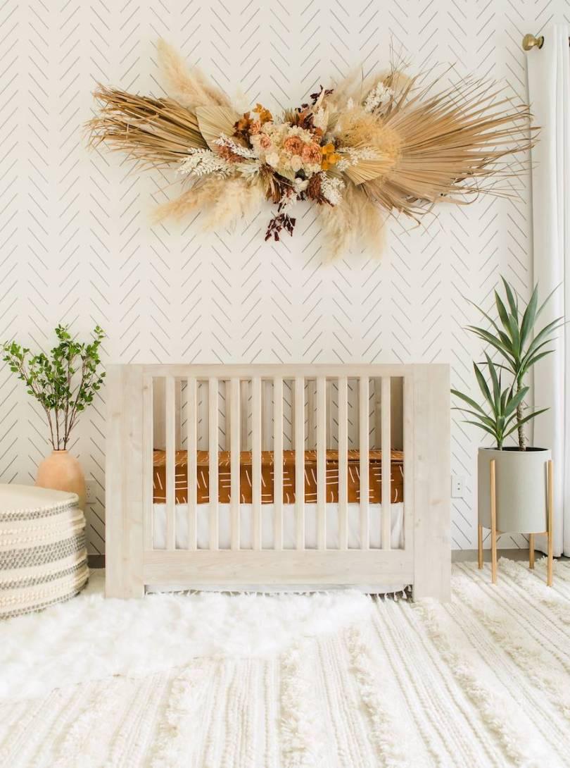 Neutral Bohemian Nursery Design by Little Crown Interiors