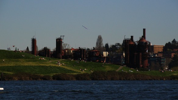 The view of Gasworks Park, across Lake Union from Flying Gull.