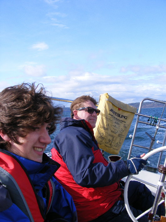 Mike and Andrew on Moonrise, a fun and safer boat in wind such as this.