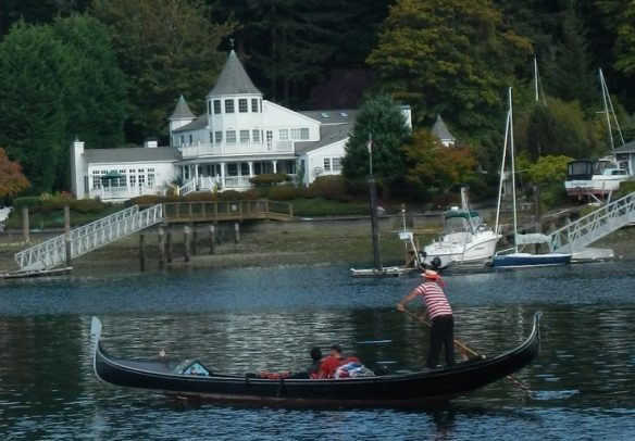 Not too often you see a gondolier rowing through your mooring field.