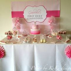 Kitchen Themed Bridal Shower Pantry Shelving Systems Pink And White Holy Communion Candy Buffet Ideas | Little ...
