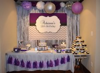 Purple, Silver and Black Birthday Party Candy Buffet Ideas