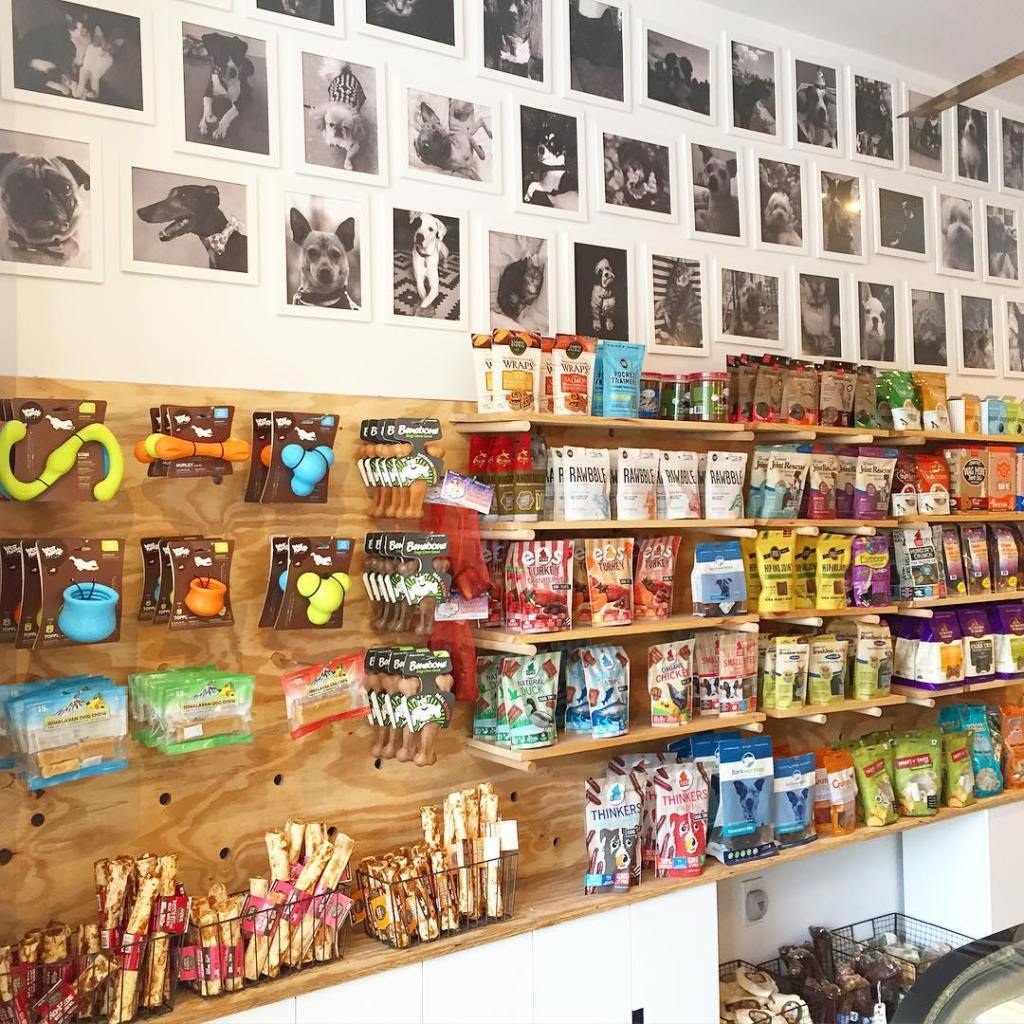 A wide selection of pet toys and treats lining the wall of a pet store under black and white portraits of the pet store's canine customers