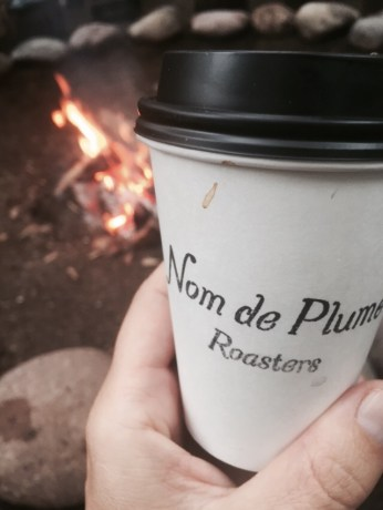 Crackling fire and coffee...ahhh!