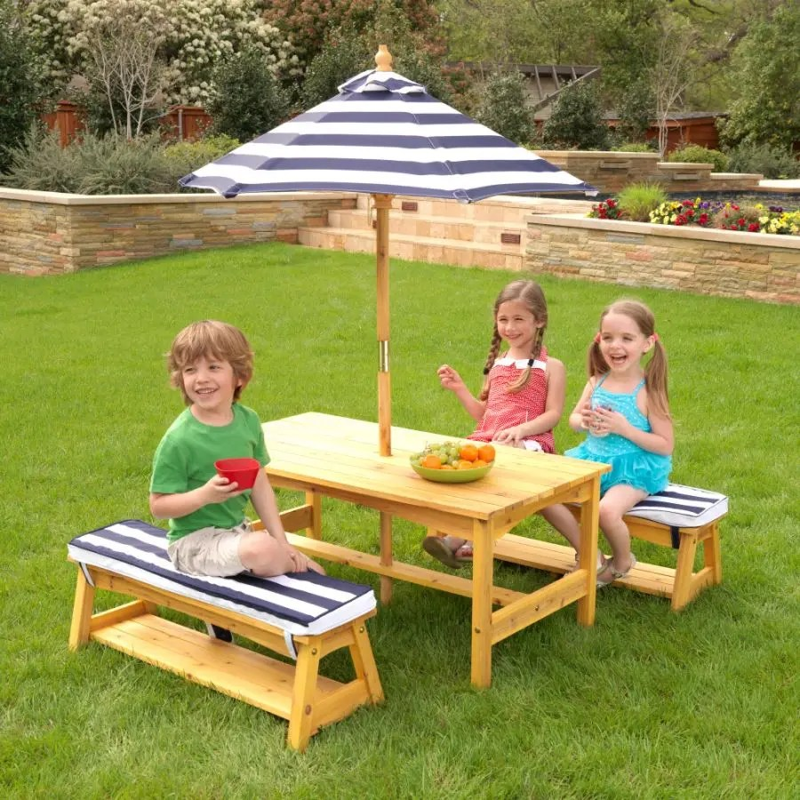 outdoor table and bench set with cushions umbrella navy white