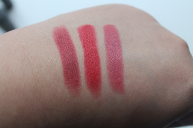 From left to right : Bordeaux Divin, Rouge Marilyn, Rose Blush