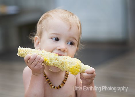 baby-led weaning, baby and corn cob, baby amber teething necklace