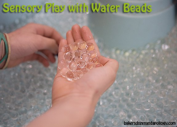 Sensory play with water beads.