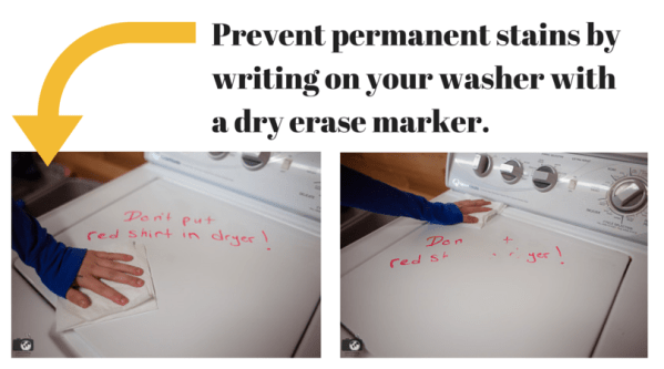 Prevent permanent stains by writing on