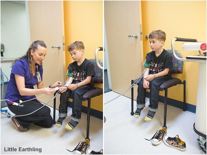 Getting blood pressure taken at Seattle Children's Hospital