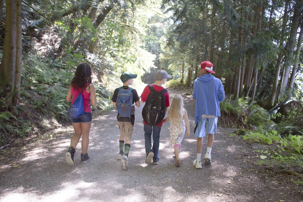 Taking a fun family hike in Bellingham.