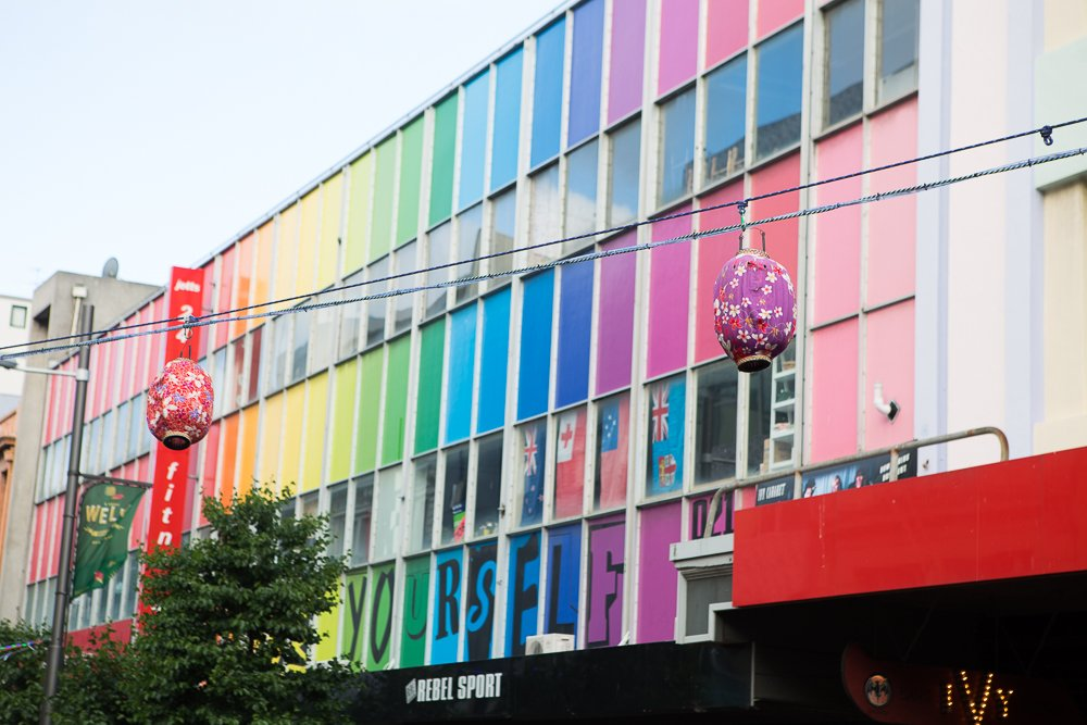 I loved this rainbow building at the Wellington Night Markets.