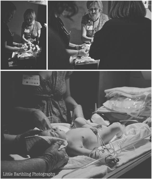 doctors working on newborn at hospital