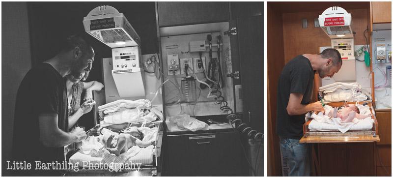 daddy and newborn in hospital