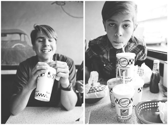 Enjoying milkshakes at Boomer's Drive-In in Bellingham, WA.