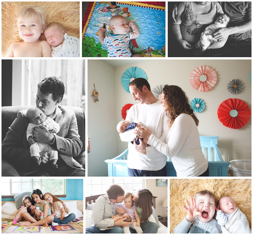 collage of newborn photos by bellingham newborn photographer, Renee Bergeron