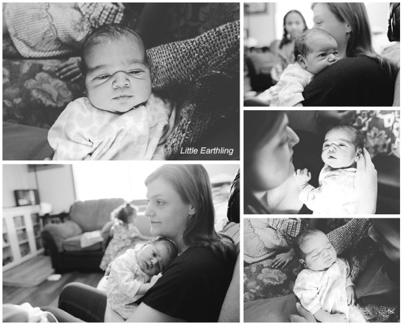 Newborn baby being held by her mom