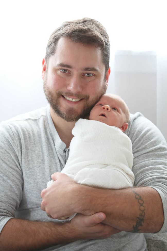 Sweet newborn baby with daddy. Bellingham newborn photographer.
