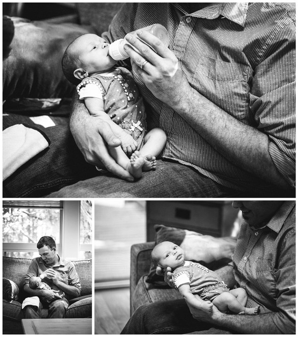 Daddy feeds his baby girl a bottle. Bellingham baby photos.