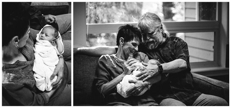 Grandma and grandpa feed the new baby. Bellingham baby photos.