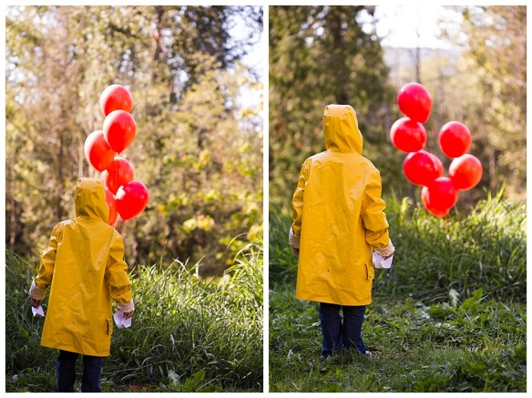 Little boy dressed as Georgie in Stephen King's It. We all float down here.