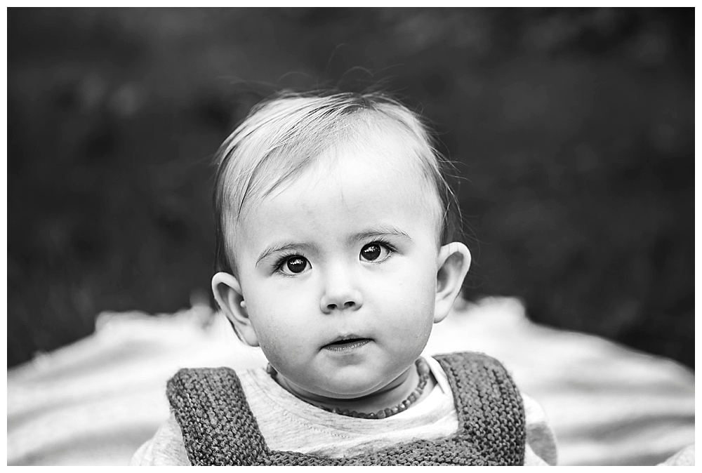 Black and white portrait of Asian baby.