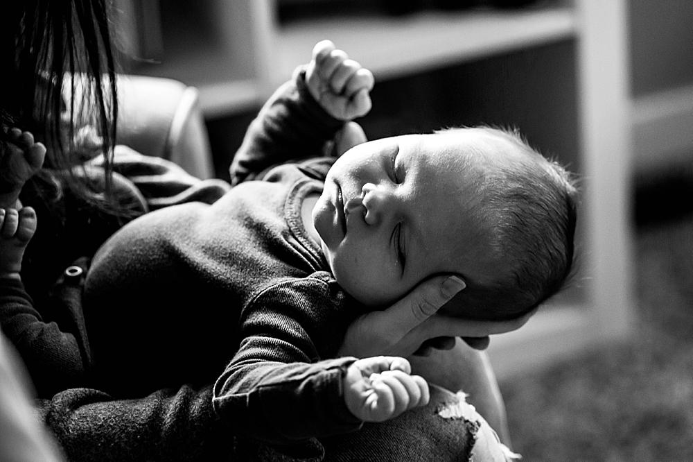 Sleeping baby in black and white. Bellingham newborn photographer.
