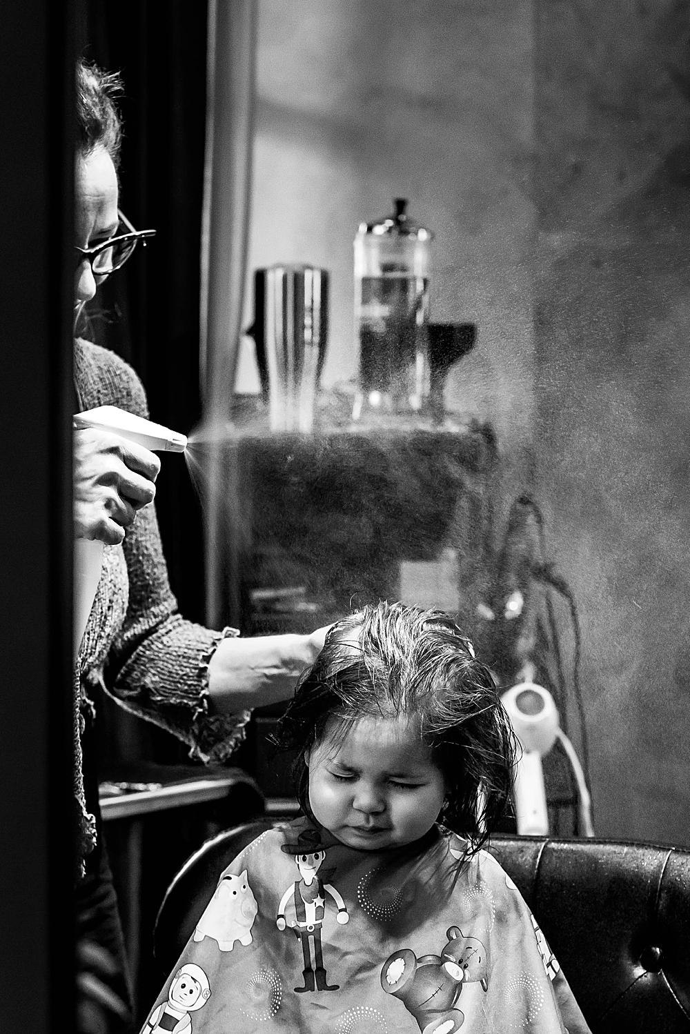 Toddler getting haircut at Sandalwood Salon in downtown Bellingham
