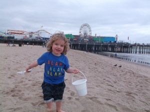 Noah plays on the beach in Santa Monica.