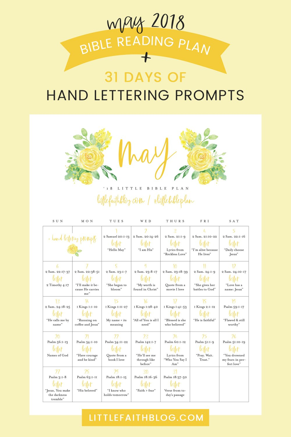 May 2018 Bible Reading Plan + 31 Days of Hand Lettering Prompts!