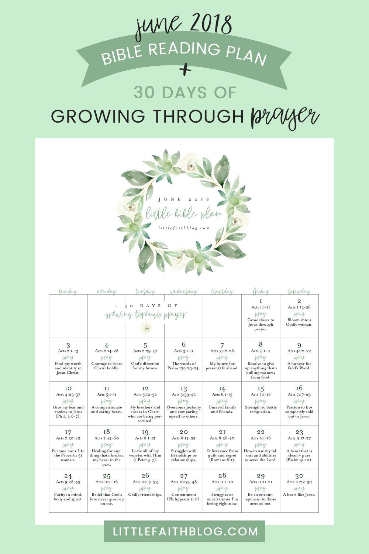 June 2018 Bible Reading Plan + 30 Days of Growing Through Prayer