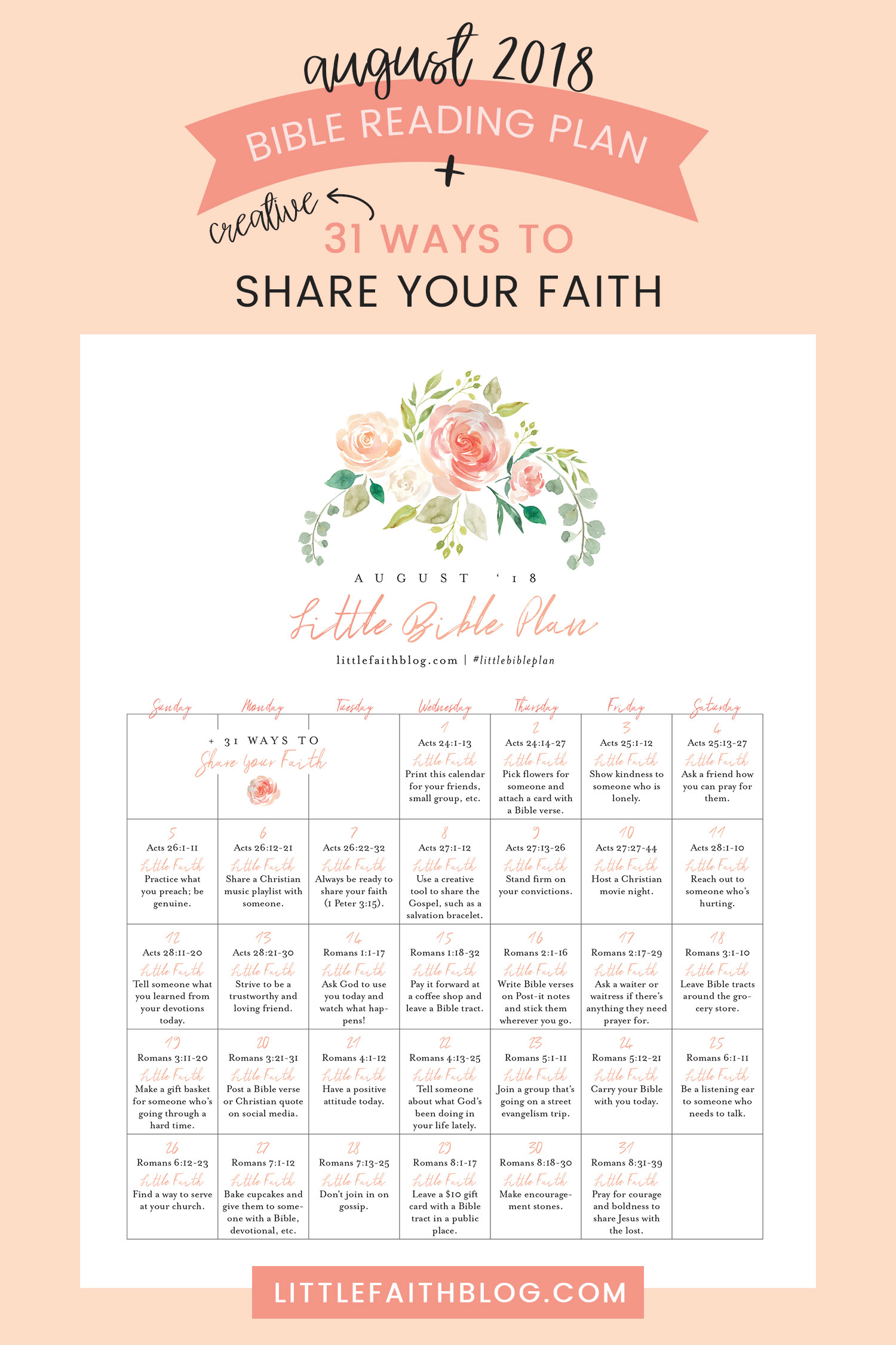 August 2018 Bible Reading Plan 31 Creative Ways To Share Your Faith