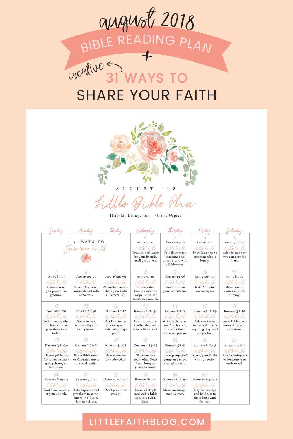 August 2018 Bible Reading Plan + 31 Creative Ways to Share Your Faith