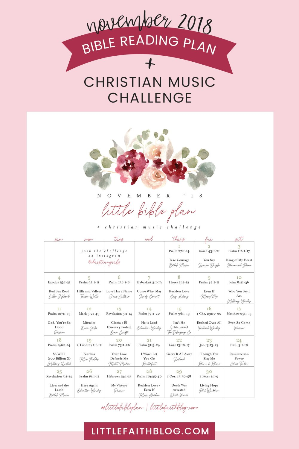 November 2018 Bible Reading Plan + Christian Music Challenge & My Worship Playlist!