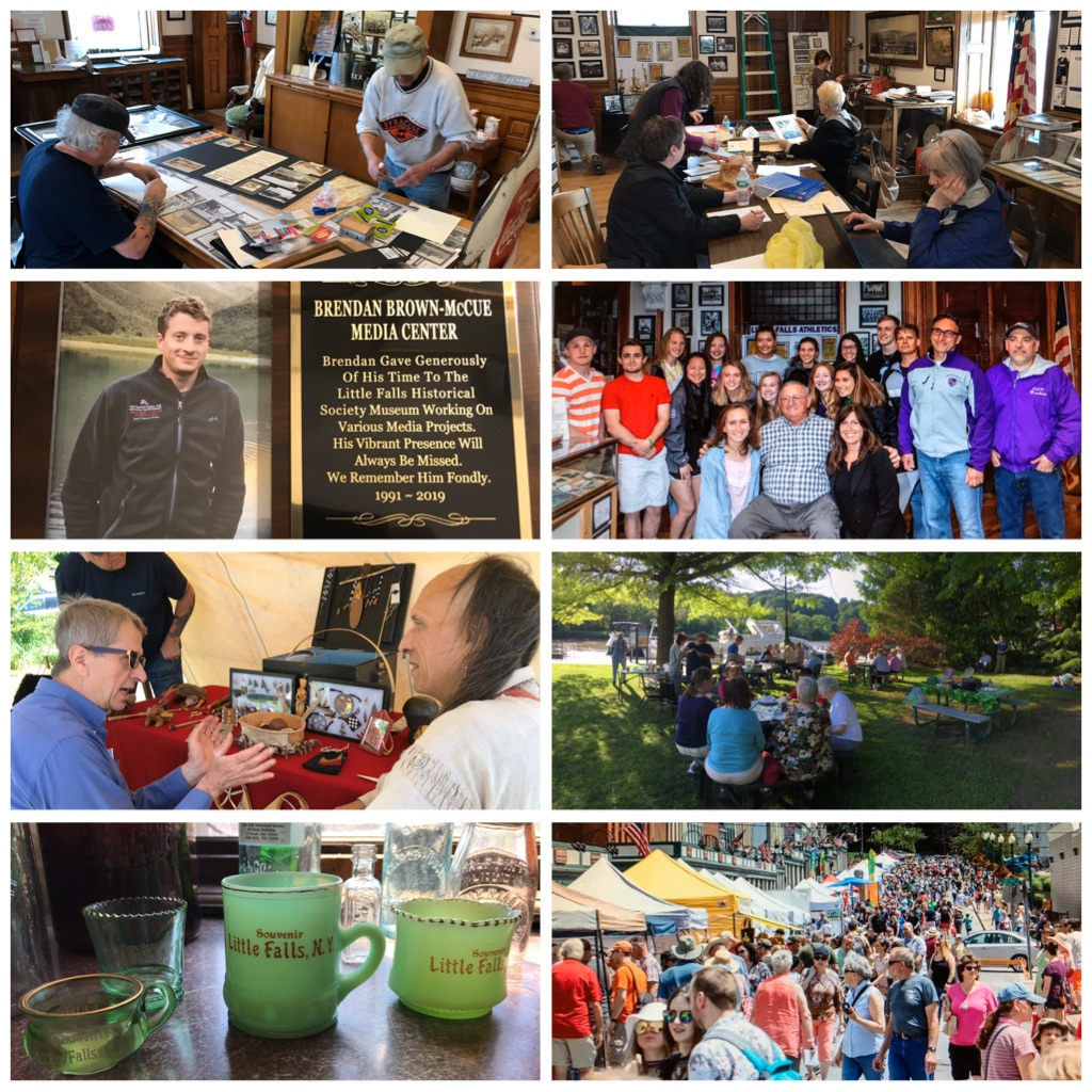 Row 1: Guys working on 2019 exhibits, ladies working on 2019 exhibits. Row 2: Plaque commemorating Brendan Brown-McCue, student athletes with parents and coaches at May 22 opening reception. Row 3: Jeff Gressler at 250th anniversary celebration at Indian Castle Church, Historical Society picnic at Rotary Park Marina in June. Row 4: Artifacts donated to museum, crowd at July 2019 Cheese Festival and many of whom visited our museum.