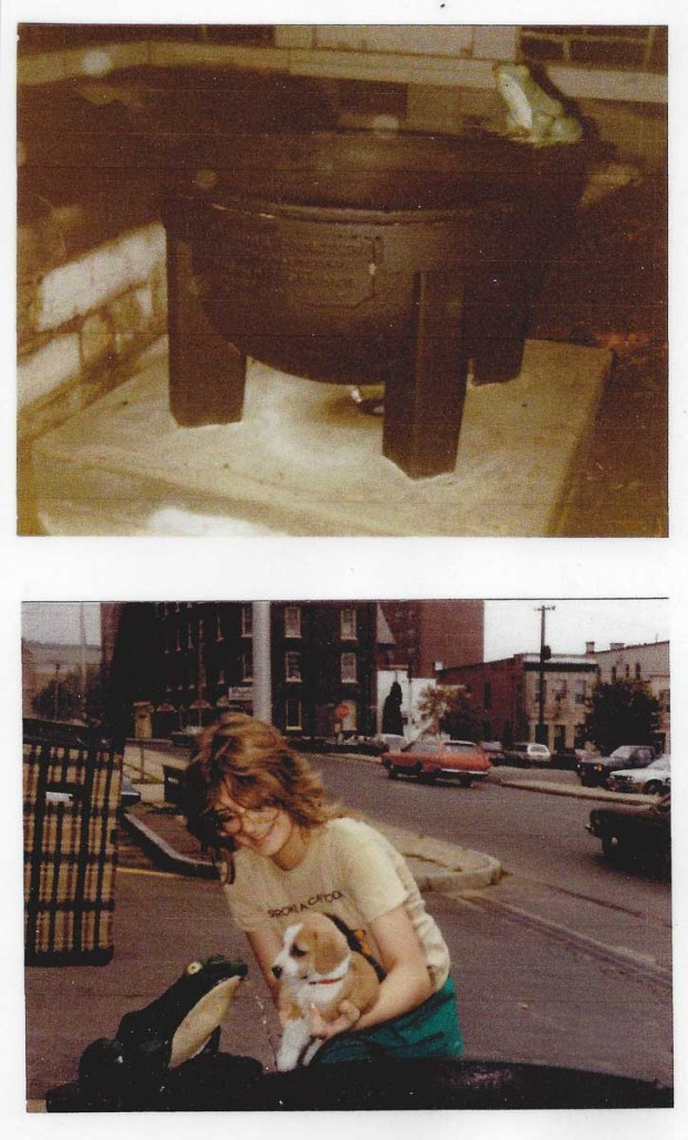 Top photo: Frog Fountain undated photo. Bottom photo: Demonstrating use of the frog fountain.