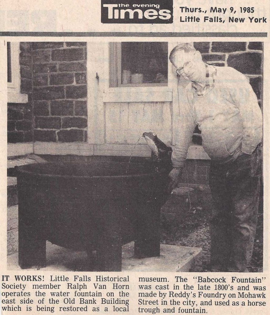The Evening Times, May 9, 1985, Little Falls, New York, with Little Falls Historical Society member Ralph Van Horn.