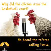 Why did the chicken cross the basketball court? He heard the referee calling fowls.