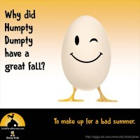 Why did Humpty Dumpty have a great fall? To make up for a bad summer.