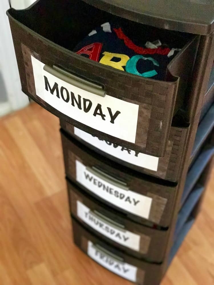 The finished product should be a back-to-school organizer where you can put clothes for everyday of the week