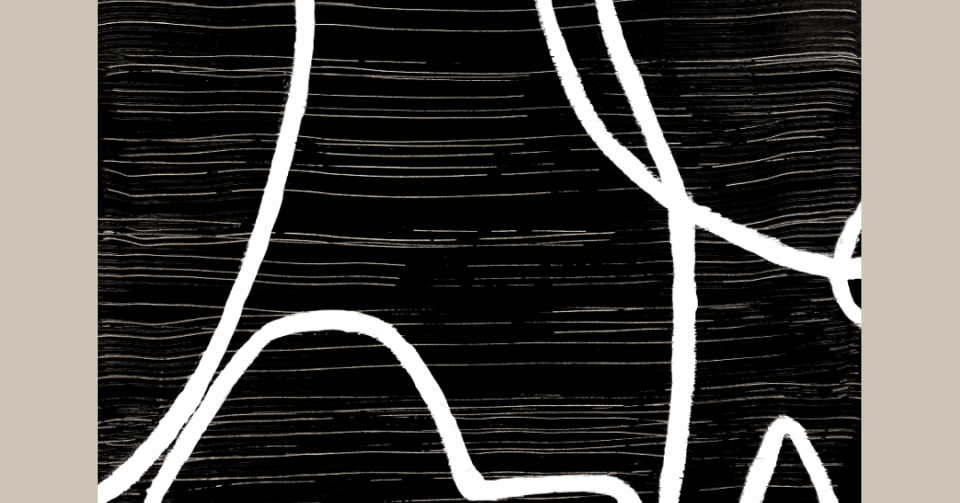 detail of black and white abstract painting