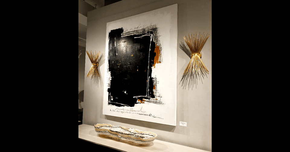 black and brown abstract painting in showroom