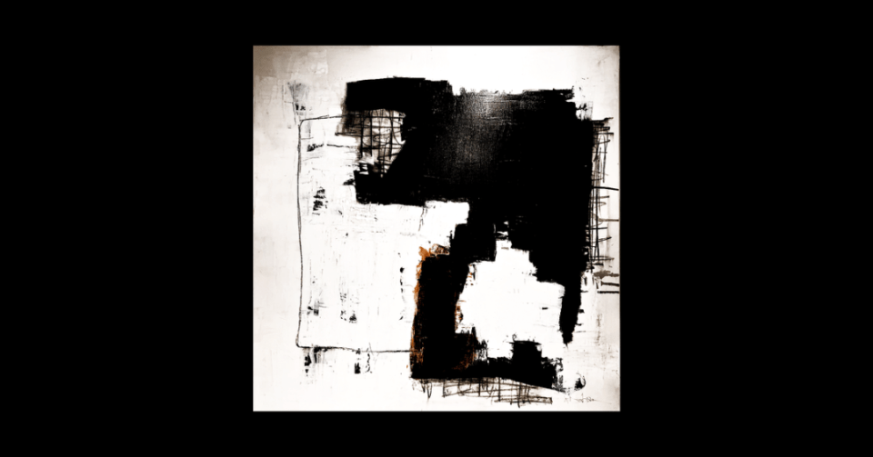 White abstract painting with black tones