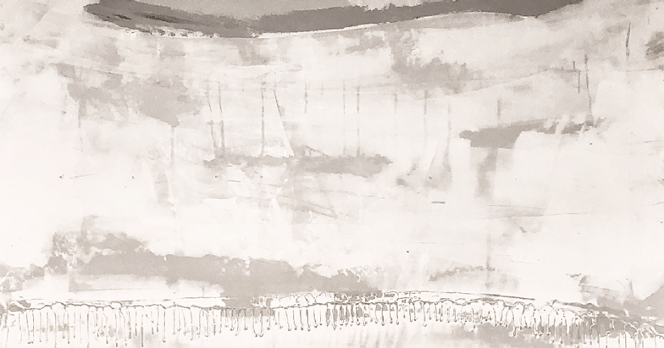 detail of white and grey abstract painting