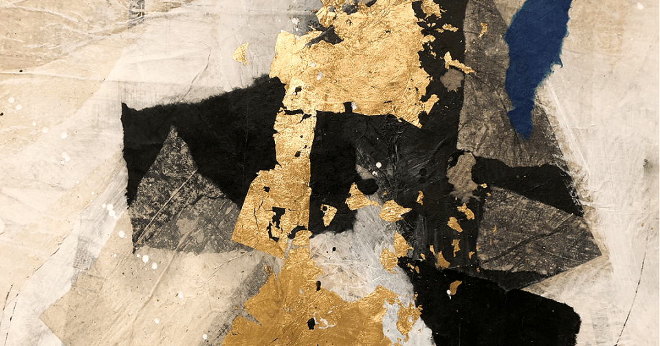 detail of gold abstract collage