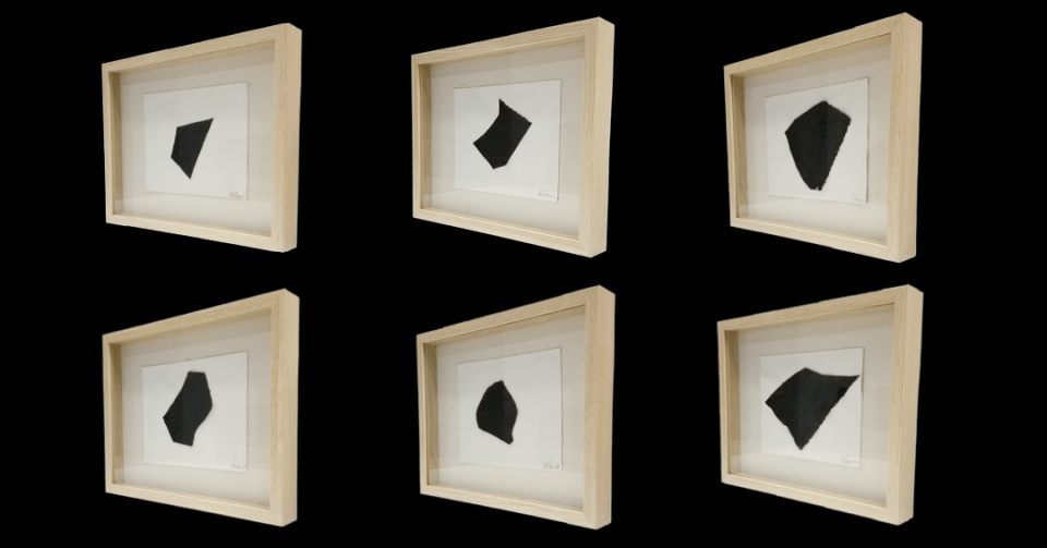 Framed Series of six collages displayed horizontally