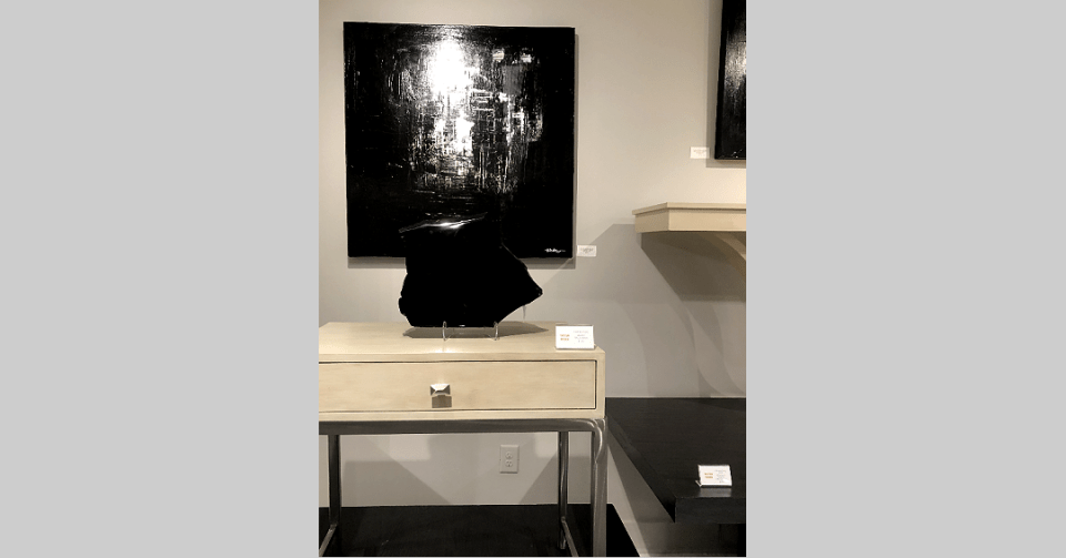 black and white painting in showroom