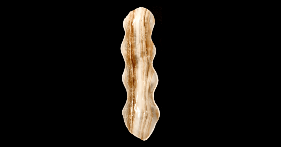 taupe stripe onyx bow vertical view